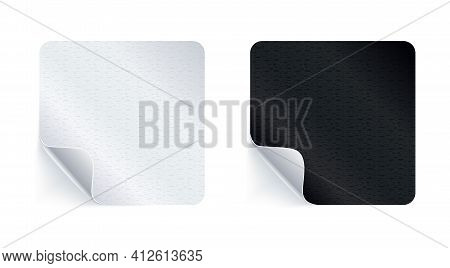 Adhesive Stickers. Realistic Empty Sticky Labels Or Price Tags Set With Shadow. Blank Square Mock Up