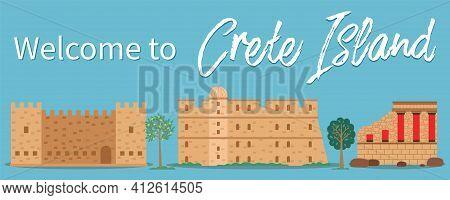 Crete Island Invitation Card Vector Illustration. Traditional Ancient Historical Buildings