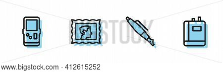 Set Line Fountain Pen Nib, Tetris, Postal Stamp And Book Icon. Vector
