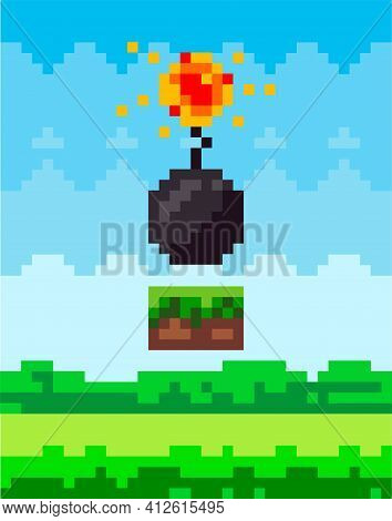 Pixel Art Style Scene Vector Bomb For Retro Pixel-game. Black Round Core With Wick That Burns