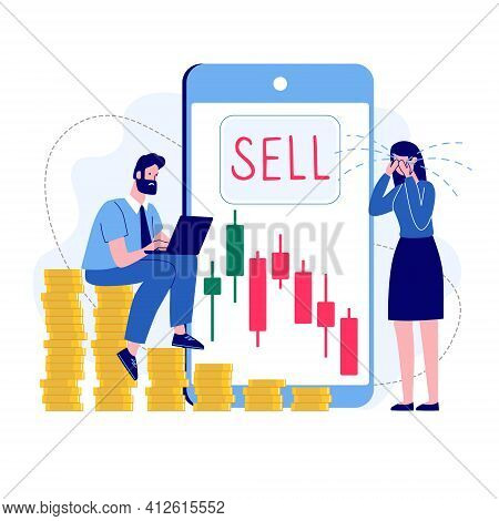 Woman, Man And Bearish Stock Market. The Girl Is Crying Because Of Financial Losses. Falling Stock P