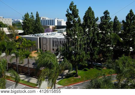 FULLERTON CALIFORNIA - 22 MAY 2020: The Titan Bookstore and other buildings seen from a parking structure on the campus of California State University Fullerton, CSUF.