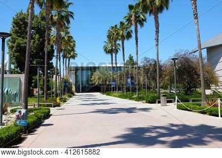 FULLERTON CALIFORNIA - 22 MAY 2020: Bike path on the grounds of the California State University Fullerton, CSUF.