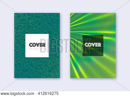 Hipster Cover Design Template Set. Green Abstract