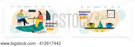 Romantic Dinner Landing Page Design, Website Banner Vector Template Set. Happy Couple Having Romanti