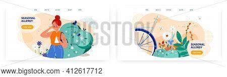 Seasonal Allergy Landing Page Design, Website Banner Vector Template Set. Pollen Allergy Symptoms.