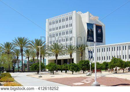 FULLERTON CALIFORNIA - 22 MAY 2020: Langsdorf Hall at the main entrance to California State University Fullerton, CSUF.