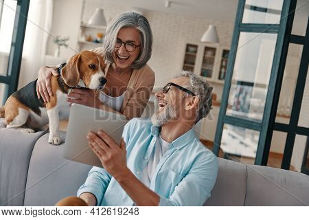 Smiling Senior Couple In Casual Clothing Taking Care Of Their Dog While Bonding Together At Home