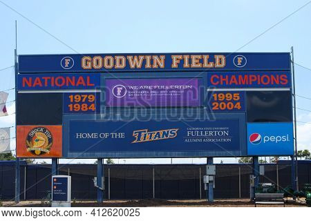 FULLERTON CALIFORNIA - 23 MAY 2020: Back side of the scoreboard at Goodwin Field home of the California State University Fullerton, CSUF, Titans baseball team.