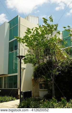 FULLERTON CALIFORNIA - 23 MAY 2020: Dan Black Hall houses the Science Laboratory Center, on the campus of California State University Fullerton.