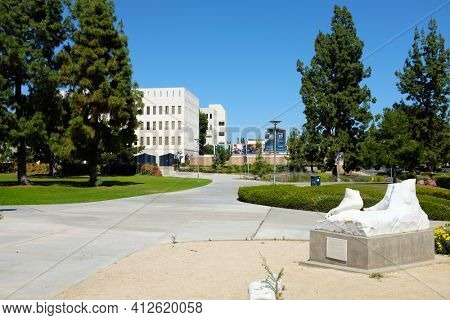 FULLERTON CALIFORNIA - 22 MAY 2020: Fallen David Statue on the campus of California State University Fullerton. Donated by Forest Lawn Memorial Park after the 1987 earthquake toppled the replica.