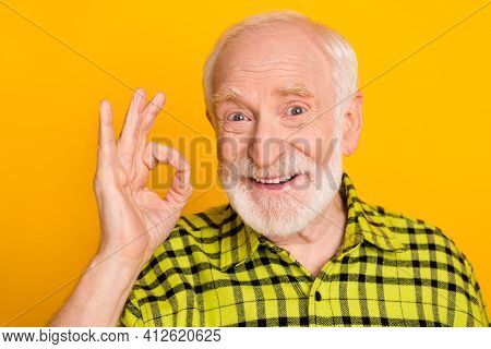 Photo Of Aged Man Happy Positive Smile Show Okay Sign Sign Deal Done Alright Advert Isolated Over Ye