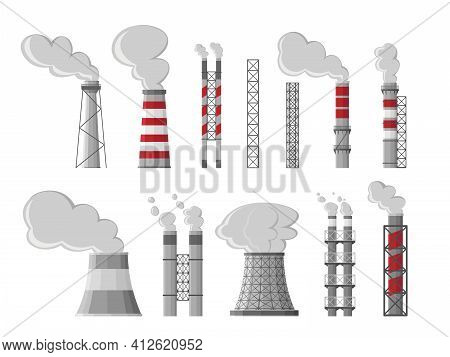 Industry Factory Vector Industrial Chimney Pollution With Smoke. Fossil Fuel, Coal Burning Process.