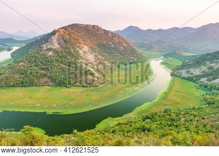 Valley Of Rijeka Crnojevica On Sunset Skadar Lake, Montenegro Balkans Europe