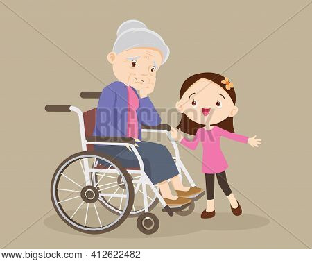 Elderly Are Sad, The Child Consoling, Sad Elderly Woman Bored, Girl Consoling Senior Woman Sitting A