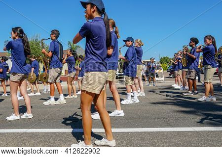 Del Norte High School Nighthawks Marching Band, 4th July Independence Day Parade At Rancho Bernardo,