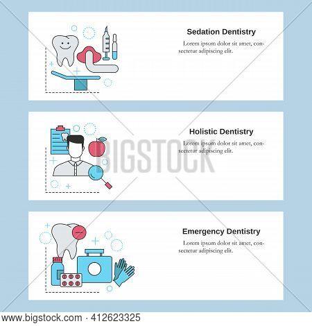 Dental Services. Sedation Dentistry, Holistic Dentistry, Emergency Dentistry. Vector Template For We