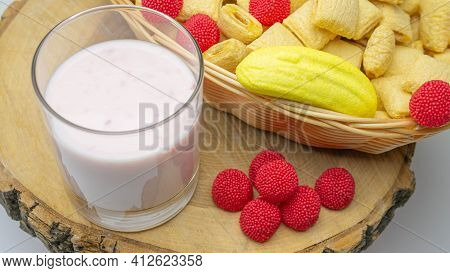 Yoghurt In A Glass, Fruit Basket And Fruit Yoghurt, Raspberries With Dairy Products.