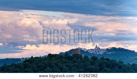 View of Todi hilltop town, Umbria, Italy