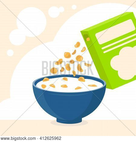 Blue Bowl Of Cereal And Milk, Bright Box Of Cereal. Concept Of Healthy And Fast Breakfast. Baby Food