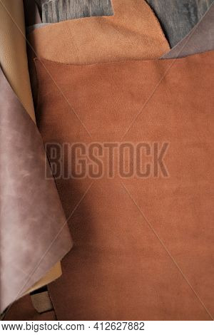 Leather Brown Pieces And Rolls.leatherworking. Genuine Leather Piece Set .manufacturing Of Clothes,