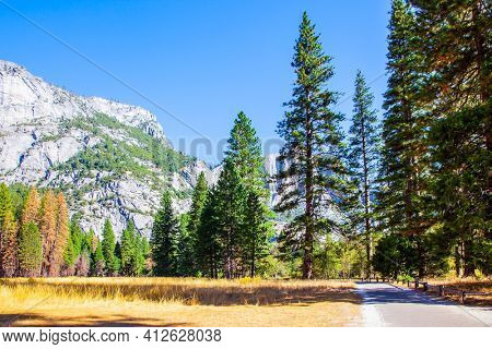Yosemite Valley. Autumn yellowed grass in the meadows of the valley. Yosemite Park is located on the slopes of the Sierra Nevada