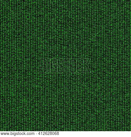 Green digital background, vertical lines of random letters and digits on black, matrix concept