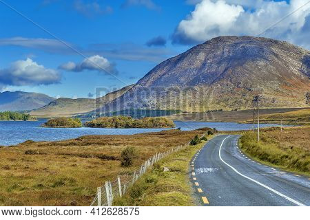 Landscape With Inagh Lake And Mountains In Galway County, Ireland