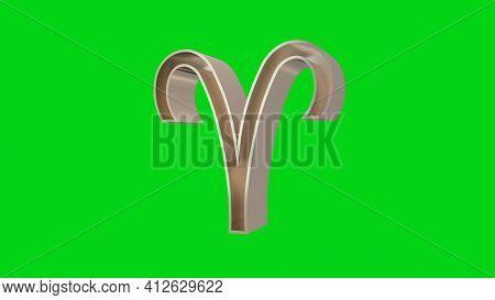 Golden Aries. Ram Astrological Zodiac Sign On A Green Screen. 3d Rendering.