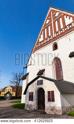 Porvoo Cathedral Facade Fragment. It Is A Cathedral Of The Evangelical Lutheran Church Of Finland In