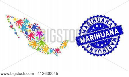 Bright Colored Mexican Mosaic Map Organized Of Mexican Marijuana Items, And Marihuana Textured Badge
