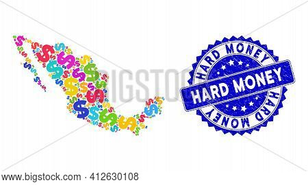 Vibrant Mexico Mosaic Map Organized From Dollar Elements, And Hard Money Scratched Badge. Vector Dol