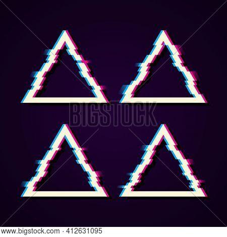 Glitched Triangle Frame Design. Distorted Glitch Style Modern Background. Glow Design For Graphic De