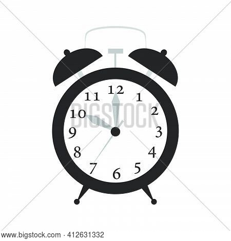 Alarm Clock Time Vector Illustration Timer With Bell Icon. Retro Symbol Alarm Clock With Ring. Isola