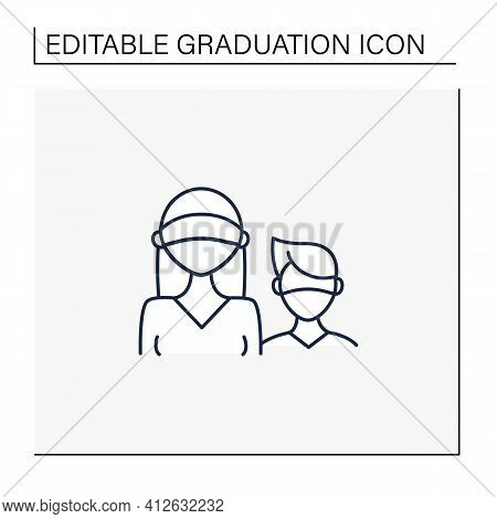 Senior Line Icon. Professor Protection. Second-year Student And Freshman. Training, Studying. Profes