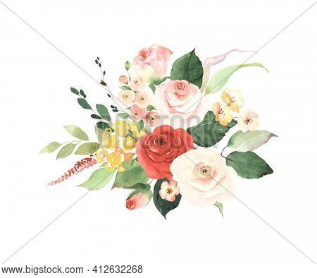 Floral decoration with simple roses, small flowers, leaves and branches. Watercolor isolated bouquet on white background for wedding card, invitation, greeting or flowers decors.