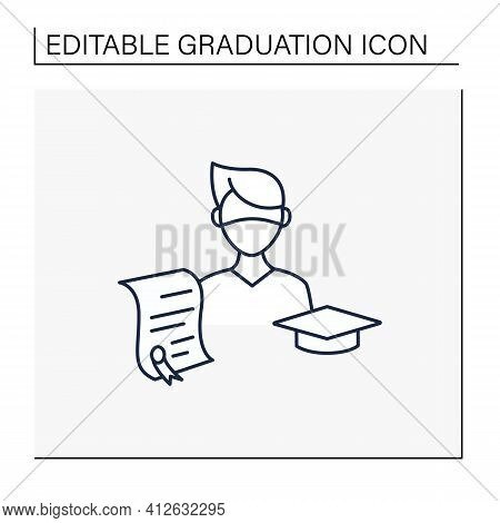 Undergraduate Student Line Icon. Personal Growth. Education Process. Bachelor Degree. Person Studyin