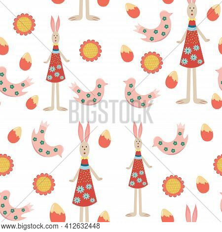 Seamless Pattern Of Spring Flowers, Eggs, Bunny In Dress, Chick. Design For Happy Easter Decoration.