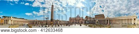May 17, 2017 - Rome, Italy: Large Horizontal Panorama With View Of St. Peter's Square And Basilica,