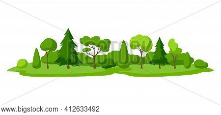 Background With Trees, Spruces And Bushes. Seasonal Nature Illustration.