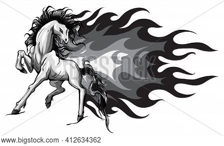 Monochromatic Horse Silhouettes With Flame Tongues. Vector Illustration.