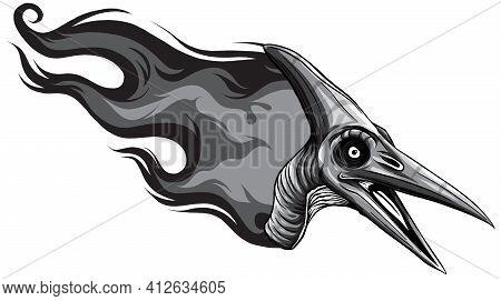 Monochromatic Dinosaurus Pteranodon Head Art Vector Illustration Design