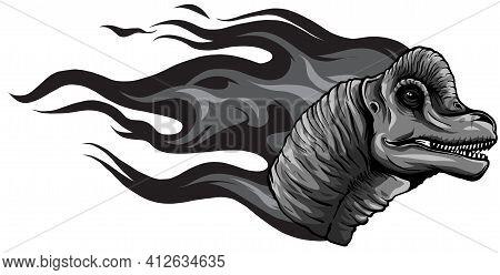 Monochromatic Dinosaurus Brachiosaurus Head Art Vector Illustration Design