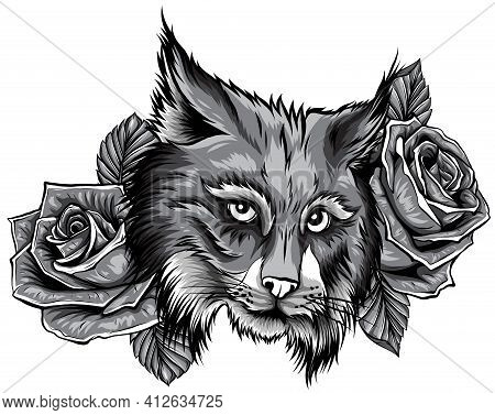 Monochromatic Vector Illustration Of Angry Bobcat Face Profile.