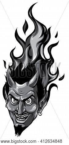 Monochromatic Smiling Devil Face. Vector Illustration. Image Design