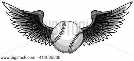 Monochromatic Vector Illustratio Of Baseball Ball With Wings