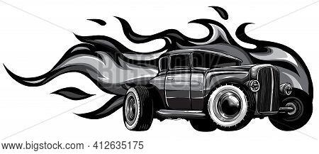 Monochromatic Vintage Car, Hot Rod Garage, Hotrods Car, Old School Car. Vector