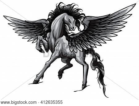 Monochromatic Pegasus. An Illustration Of The Mythological Horse Pegasus Rearing Up On Its Hind Legs