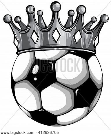 Monochromatic Gold Crown On A Soccer Ball Isolated On White