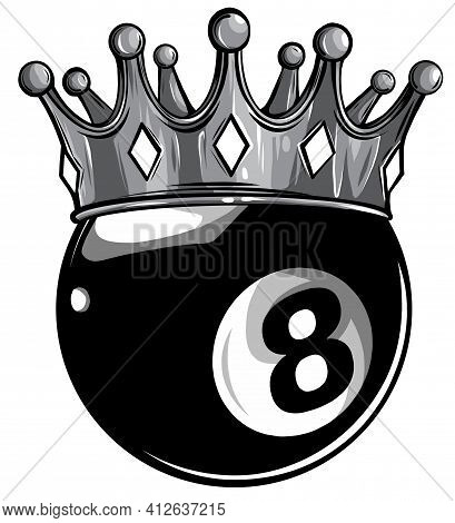 Monochromatic Gold Crown On A Billiard Ball Isolated On White Vector
